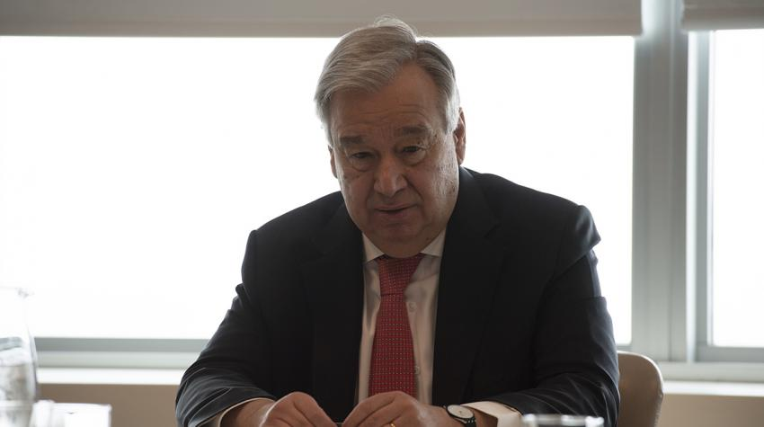 United Nations Secretary-General Antonio Guterres calls for an immediate global ceasefire so that everyone can focus on defeating the novel coronavirus, which causes the disease COVID-19. March 23, 2020 (Screengrab from video courtesy UN) Posted for media use