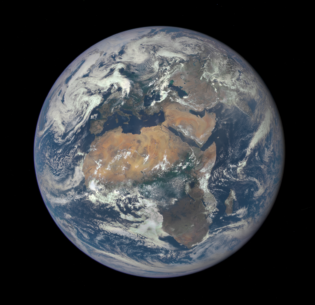 Africa is front and center in this image of Earth taken by a NASA camera on the Deep Space Climate Observatory (DSCOVR) satellite. The image was taken July 6, 2017 from a vantage point one million miles from Earth. (Photo courtesy NASA) Public domain