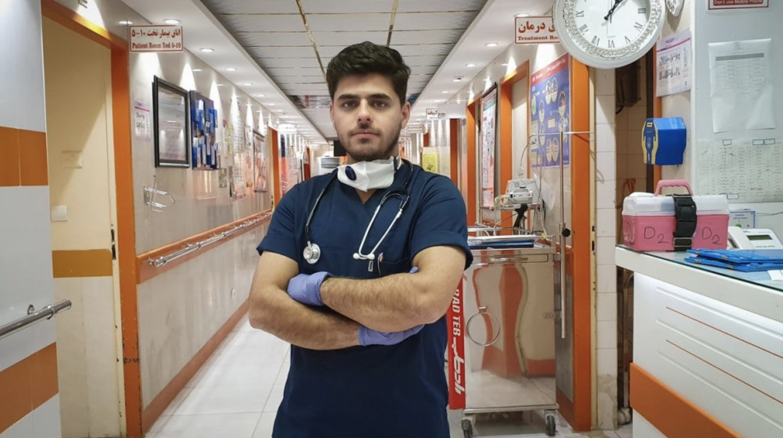 Refugee nurse Moheyman Alkhatavi, originally from Iraq, now works at the Taleghani Hospital in Abadan, Iran. (Photo courtesy UNHCR) Posted for media use