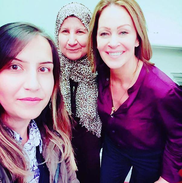 Syrian refugee Abir Ramadan, who speaks three languages; her mother Fizya; and Caroline Kennedy, at Union College Queens University, Belfast, Northern Ireland, where they participated in the UNHCR workshop, October 2019 (Photo courtesy Caroline Kennedy)