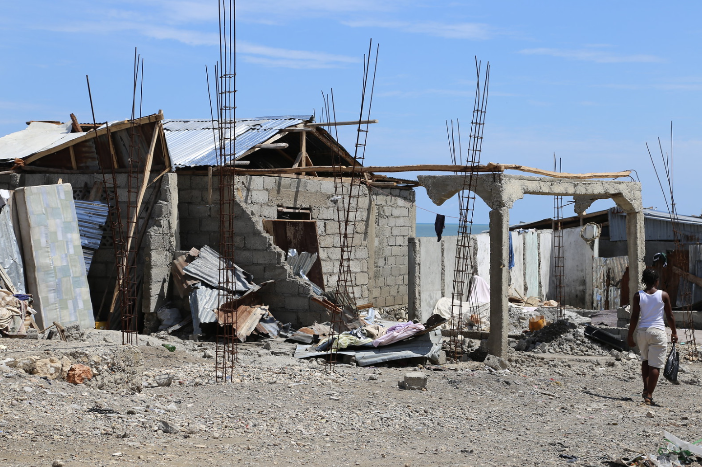 Hurricane Matthew did great damage to the coastal town of Jérémie, Haiti. Some of the worst hit areas were coastal communities like this one. October 14, 2016 (Photo by Nicole Robicheau, International Federation of Red Cross) Creative Commons license via Flickr
