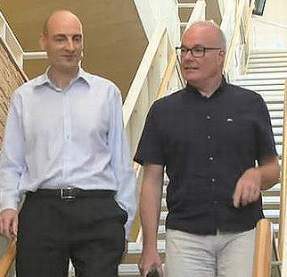 Dr. Ian Hosking, left, and Senior Lecturer Bill Nicholl, co-founders and co-leaders of the Designing Our Tomorrow long-term project at the University of Cambridge, UK. (Screengrab from video courtesy Cambridge University)
