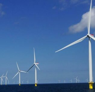 At Nysted offshore wind farm in Denmark, the 72 rotors are placed in a parallelogram with eight rows of nine wind turbines each and all spinning clockwise. (Photo by Orsted Energy Group) Posted for media use on Facebook