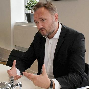 Danish Climate and Energy Minister Dan Jorgensen during an interview, August 16, 2019 (Photo courtesy Voice of America) Public domain