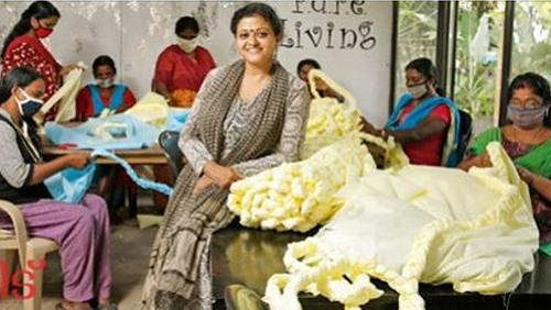 Designer Laksmi Menon, center, has put Kerala women to work making bedrolls out of plastic trimmings from PPE production, 2020 (Photo courtesy Shayya via Facebook) Posted for media use