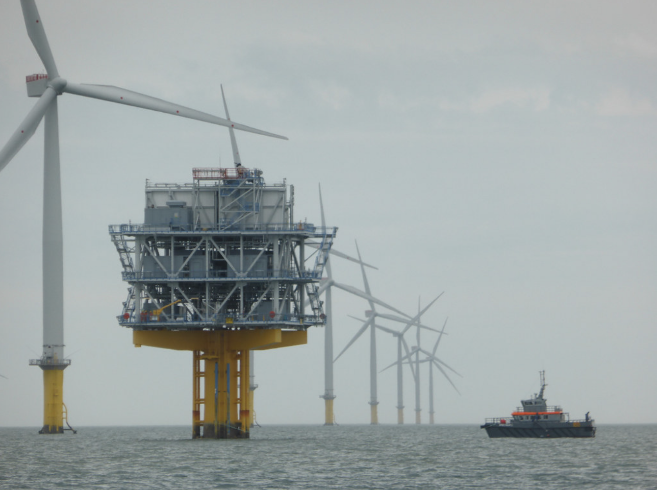 A gray day at the London Array, one of the world's largest offshore windfarms. The largest offshore wind farms are currently in northern Europe, especially in the United Kingdom and Germany, which together account for over two-thirds of the total offshore wind power installed worldwide. June 12, 2016 (Photo by pshab) Creative Commons license via Flickr