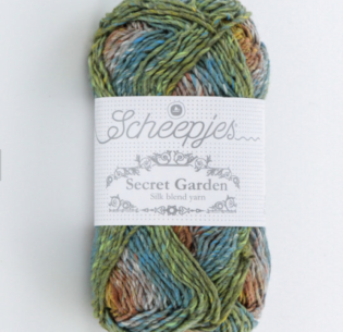 Polyester yarn is often used in fabric blends. This yarn is 20 percent silk, 20 percent cotton and 60 percent polyester. (Photo courtesy Scheepjes Secret Garden) Posted for media use.
