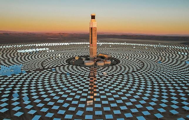 No fossil fuels needed, the Cerro Dominador solar power plant is directly connected to Chile's National Electric System. The plant is located in the Atacama Desert, the driest desert in the world with the highest levels of direct solar radiation on the planet. The sun's energy is beamed by 10,600 mirrors to the top of the 250-meter-high tower, where liquid salts are heated to generate steam, which a turbine transforms into energy. June 30, 2021 (Photo by International Montary Fund) Creative Commons license via Flickr